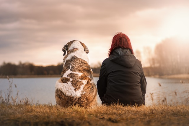 dívka u rybníka se psem