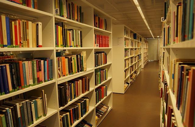 knihovna, policové skříně, knihy